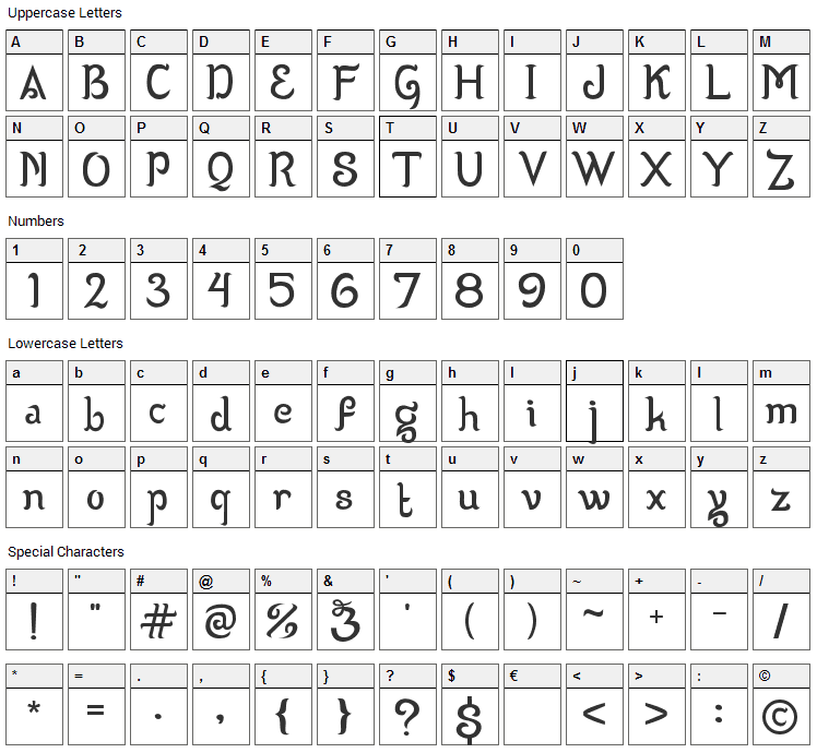 Wizzta Font Character Map