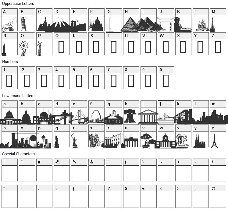 WM Architect 1 Font Character Map