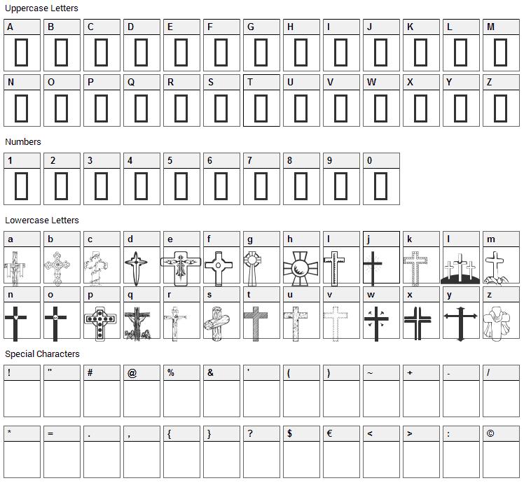 WM Crosses 1 Font Character Map