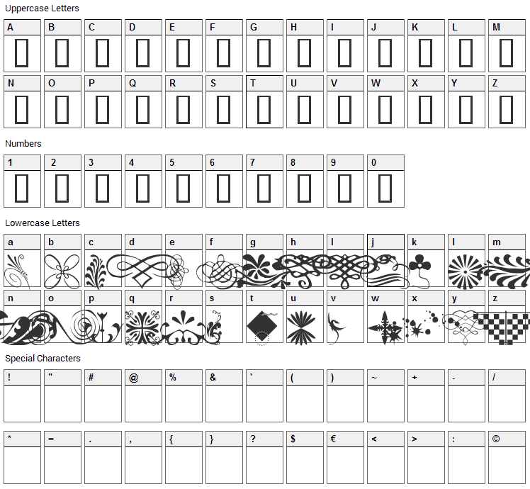 WM Designs 1 Font Character Map