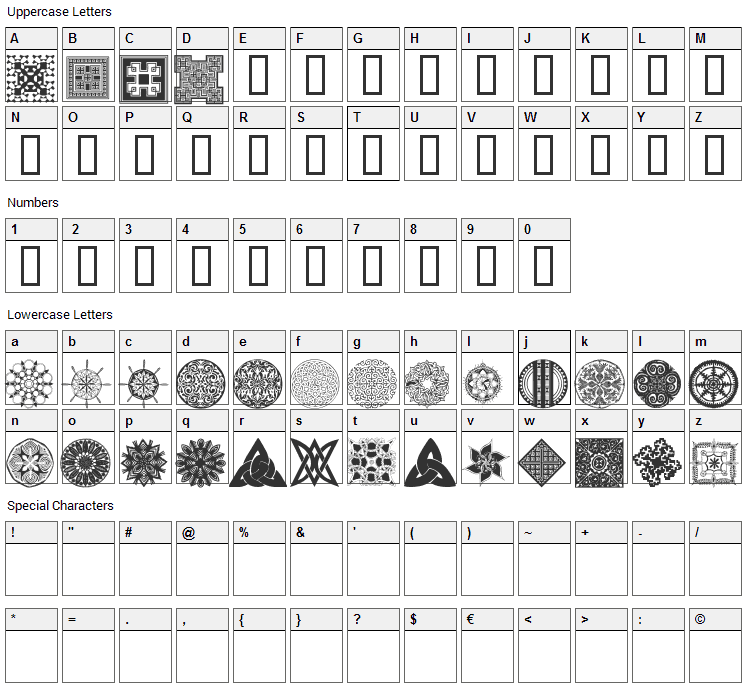 WM Designs 2 Font Character Map