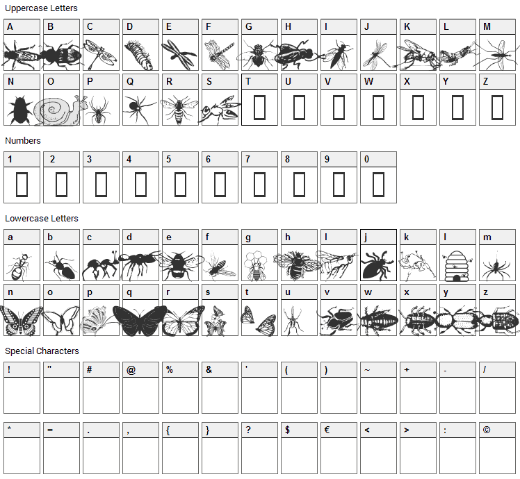 WM Insects Font Character Map