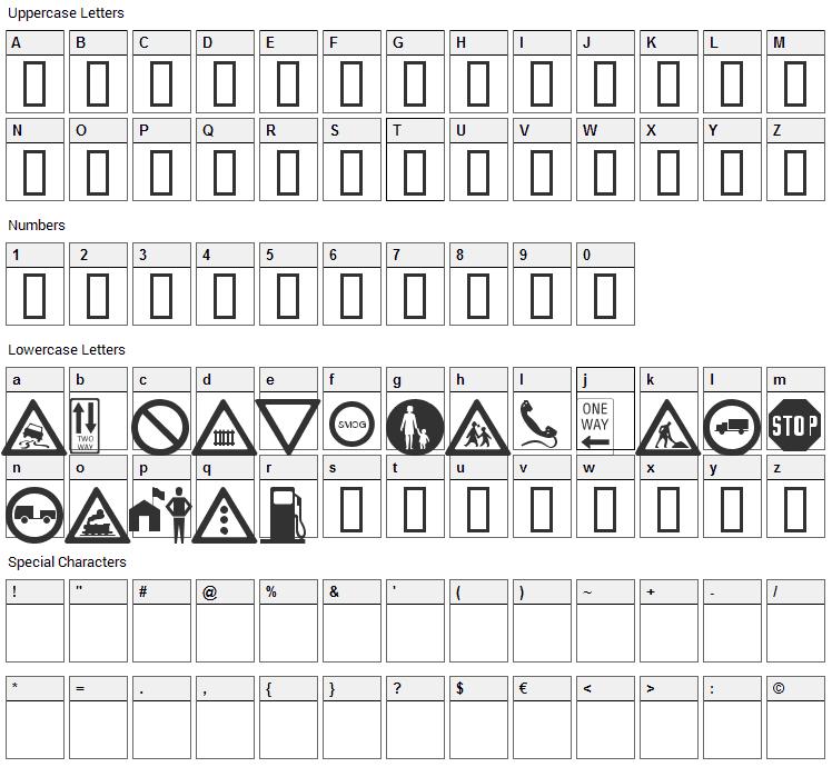 WM Roadsigns Font Character Map