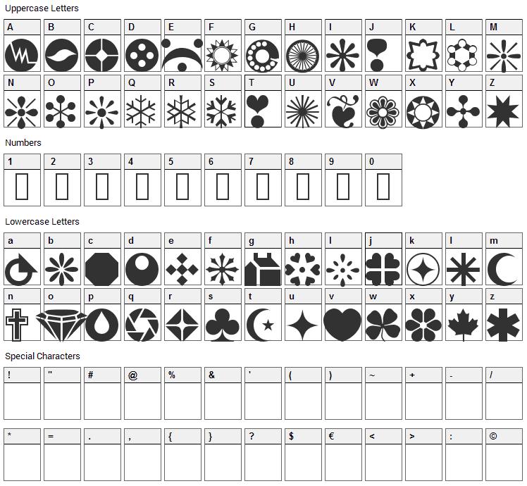 WM Shapes 1 Font Character Map