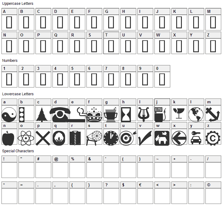 WM Symbols Font Character Map