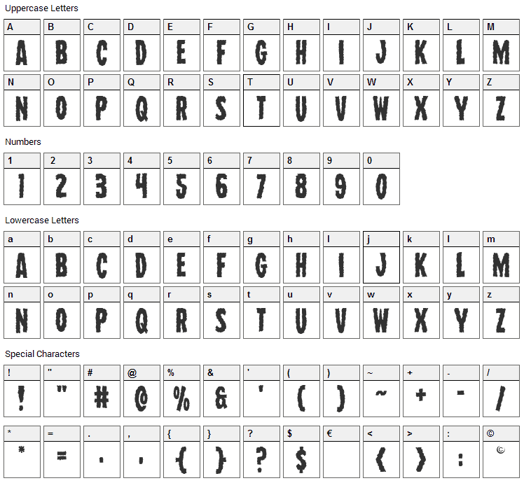 Wolf Brothers Font Character Map