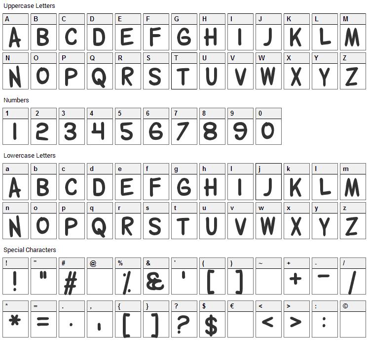 Wolfgang Gartner Font Character Map