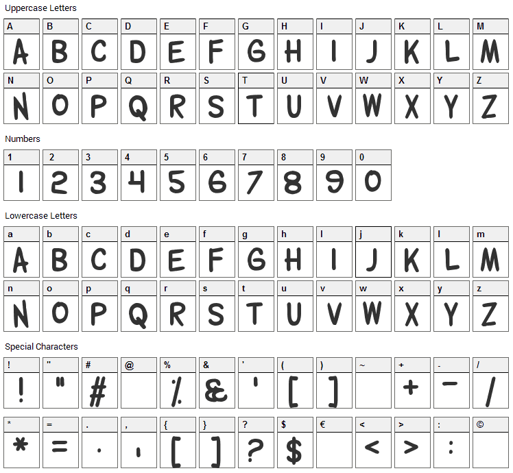 Wolfganger Font Character Map