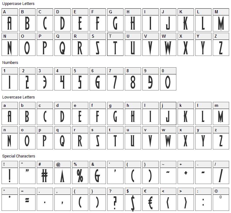 Wolfs Bane Font Character Map