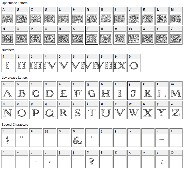 Wolnough Font Character Map