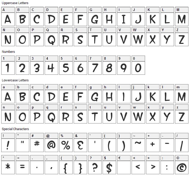 Wonder Comic Font Character Map