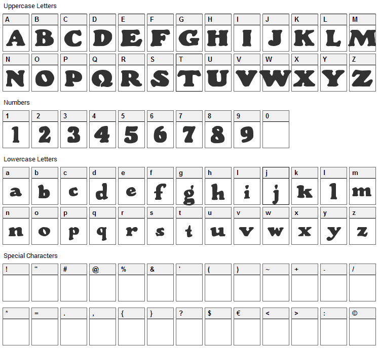 Wood Stevens Bold Font Character Map