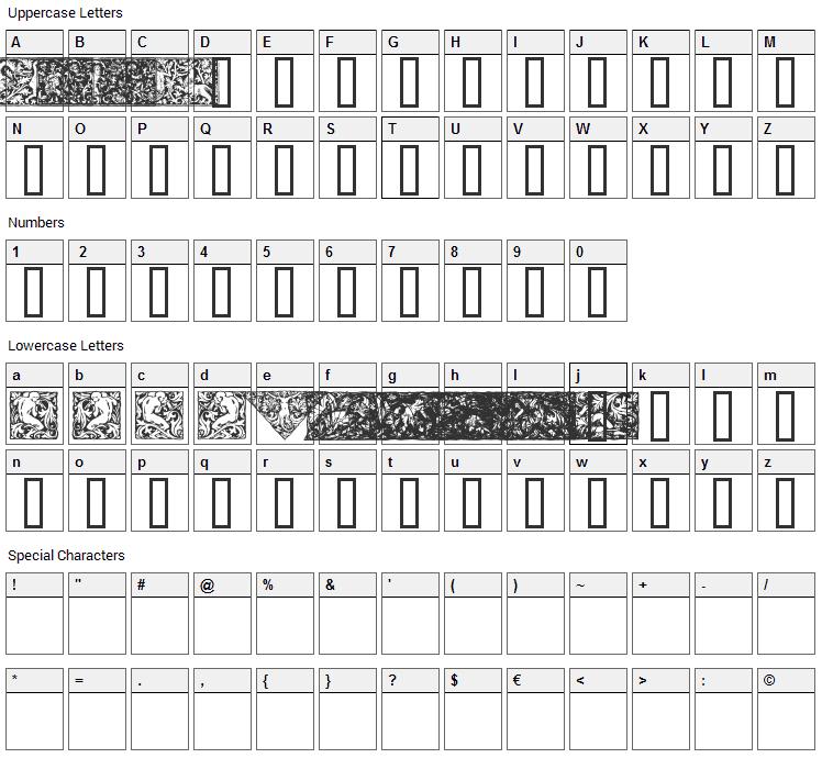 Woodcut 1 Font Character Map