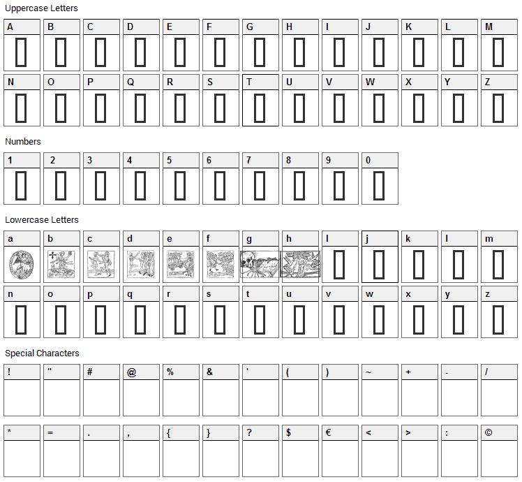 Woodcut 2 Font Character Map