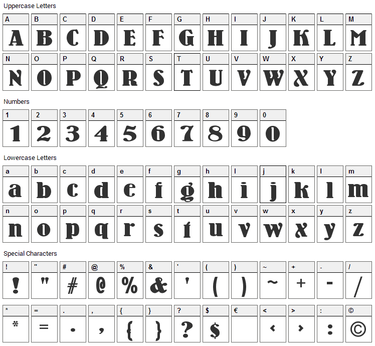 Wooden Nickel Black Font Character Map