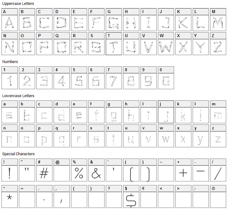 Woodenhead Font Character Map