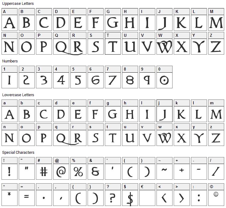 Woodgod Font Character Map
