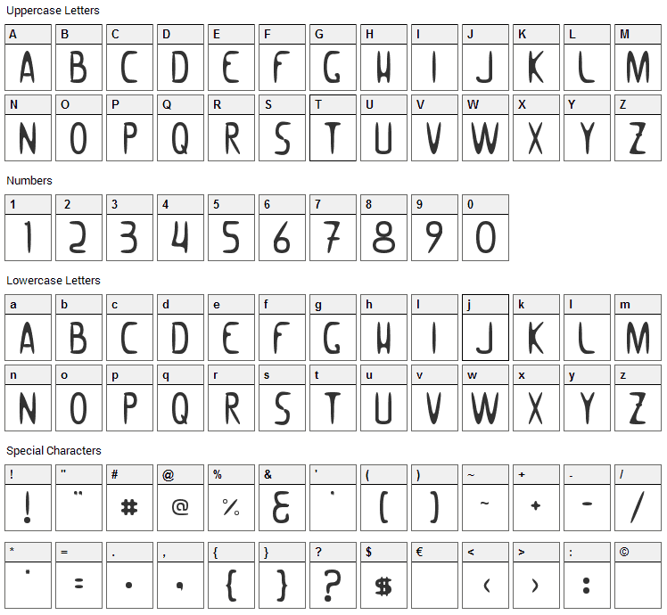 Woomble 002 Font Character Map
