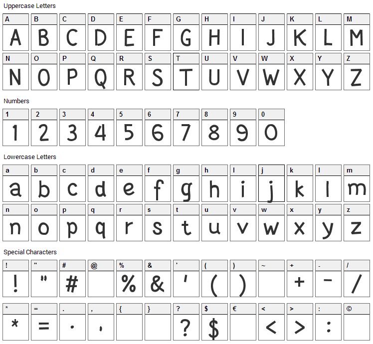 Wortellina Font Character Map