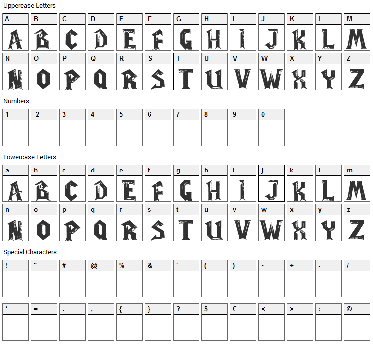 WoW Plexus Font Character Map