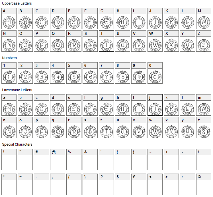 Wreath Font Character Map