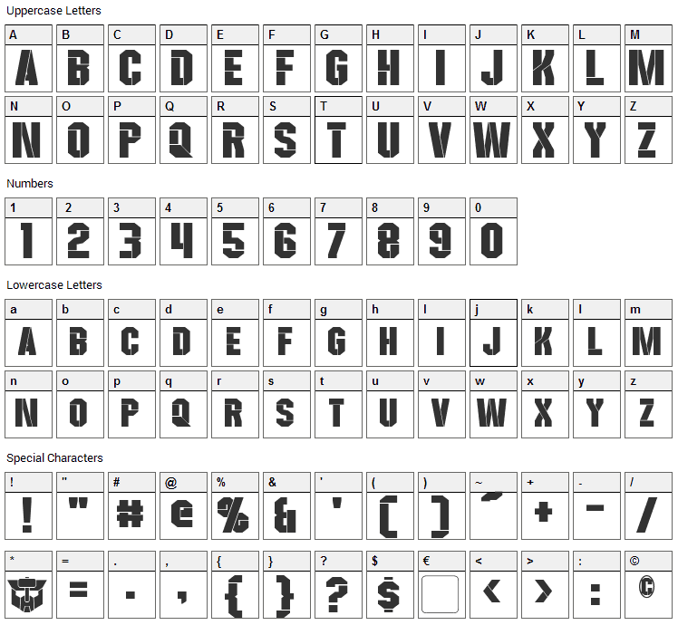 Wreckers Font Character Map