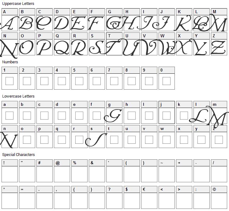 Wrenn Initials Font Character Map