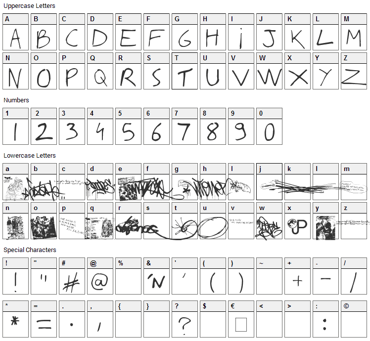 Writing You A Letter Font Character Map