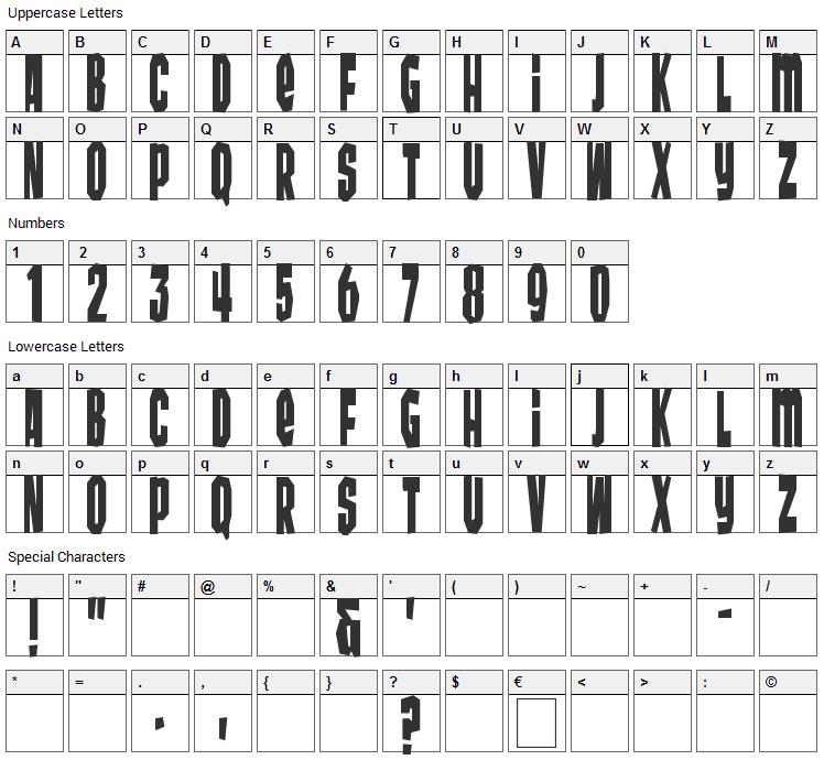Wunderbar Font Character Map