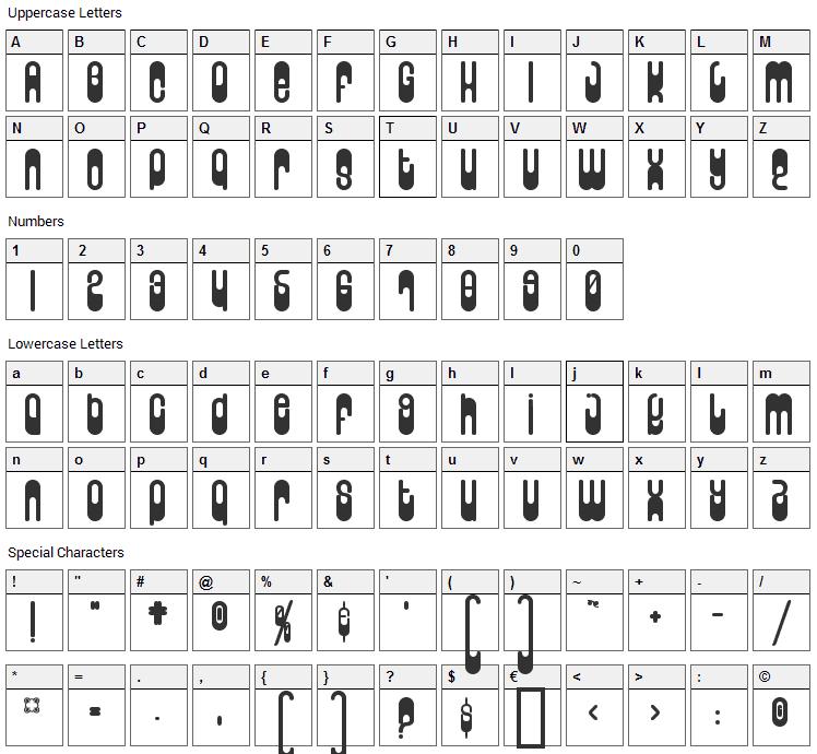 Wunderland Font Character Map