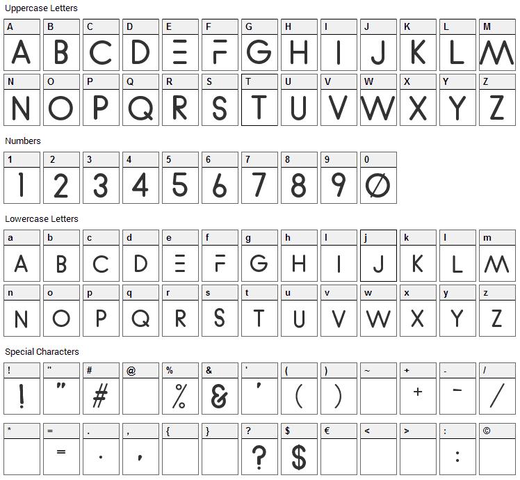 WVelez Logofont Font Character Map