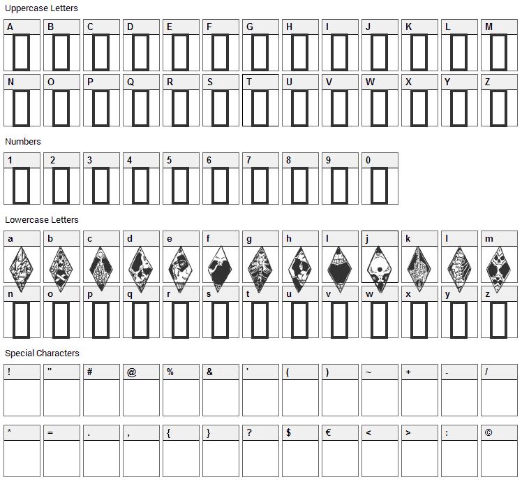 WW Wraith Bats Font Character Map