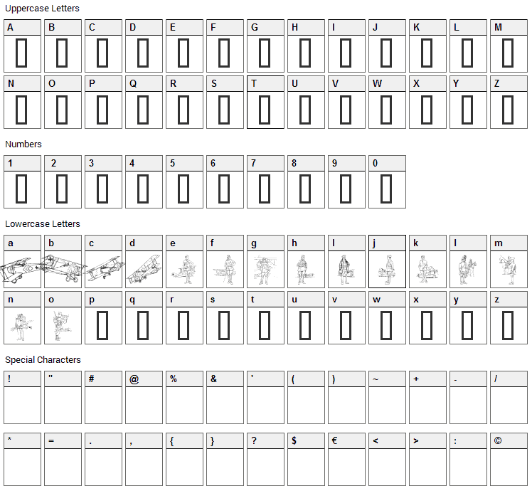 WW1 Font Character Map