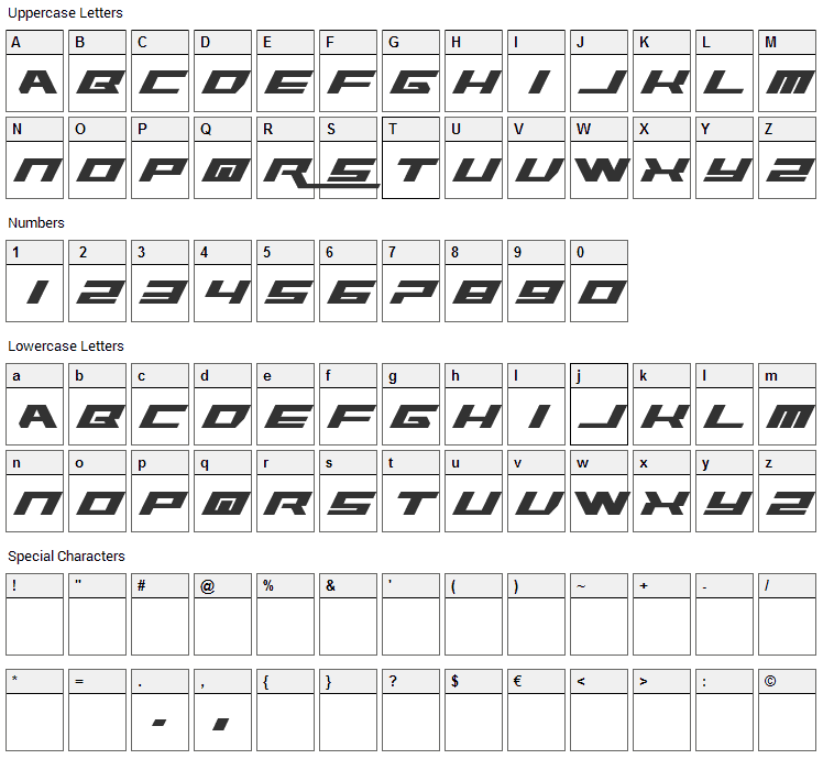 WWE Raw 2012 Font Character Map