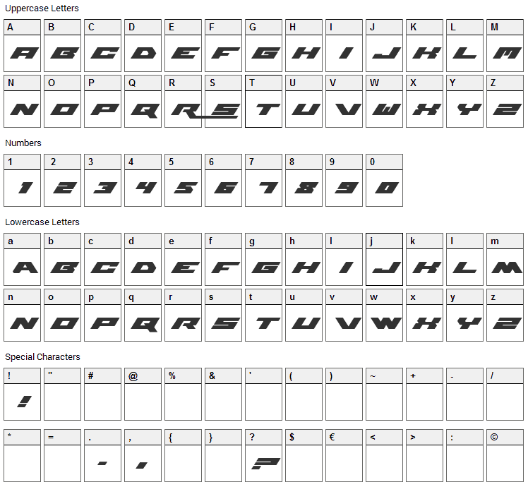 WWE Raw Font Character Map