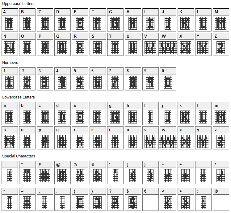 X-Grid Font Character Map