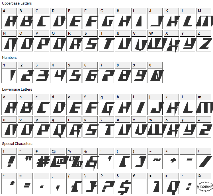 X-Racer Font Character Map