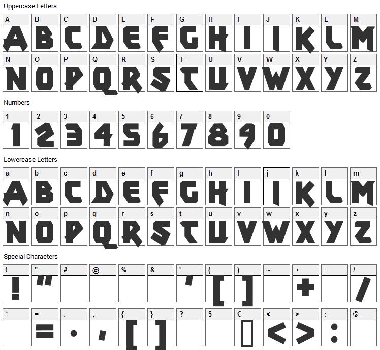 Xar Font Character Map