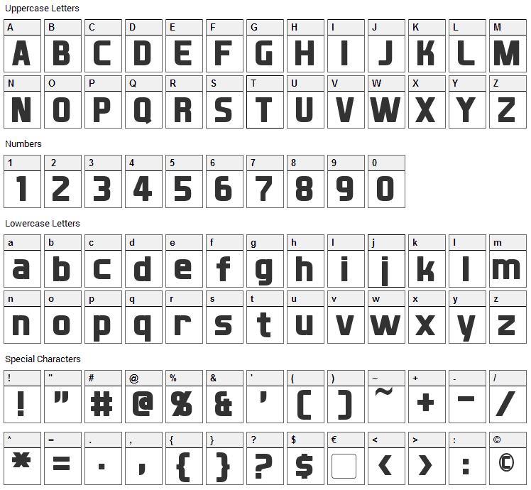 XBall Font Character Map