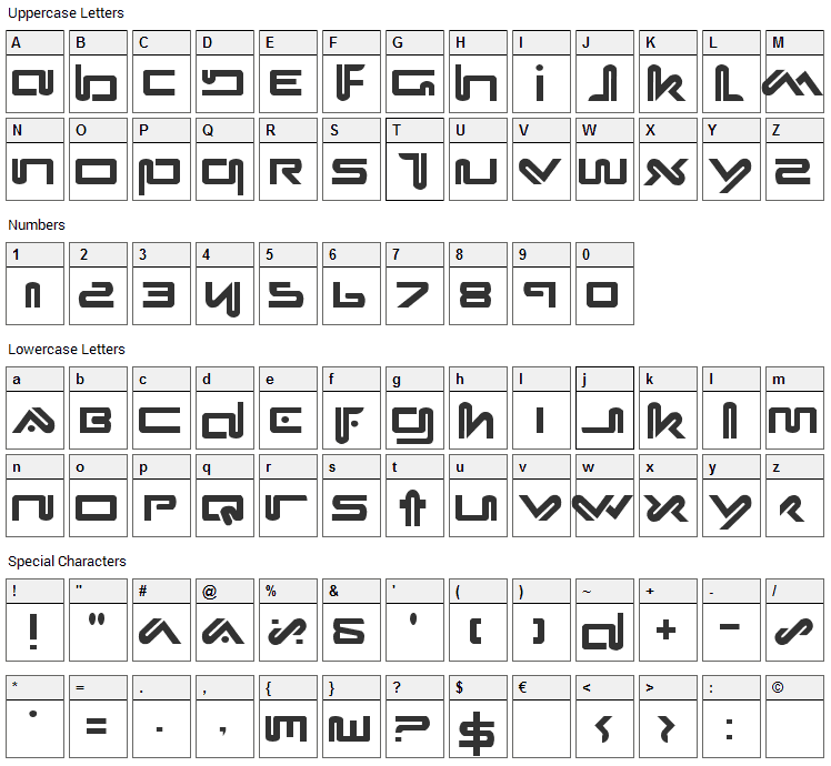 Xephyr Font Character Map