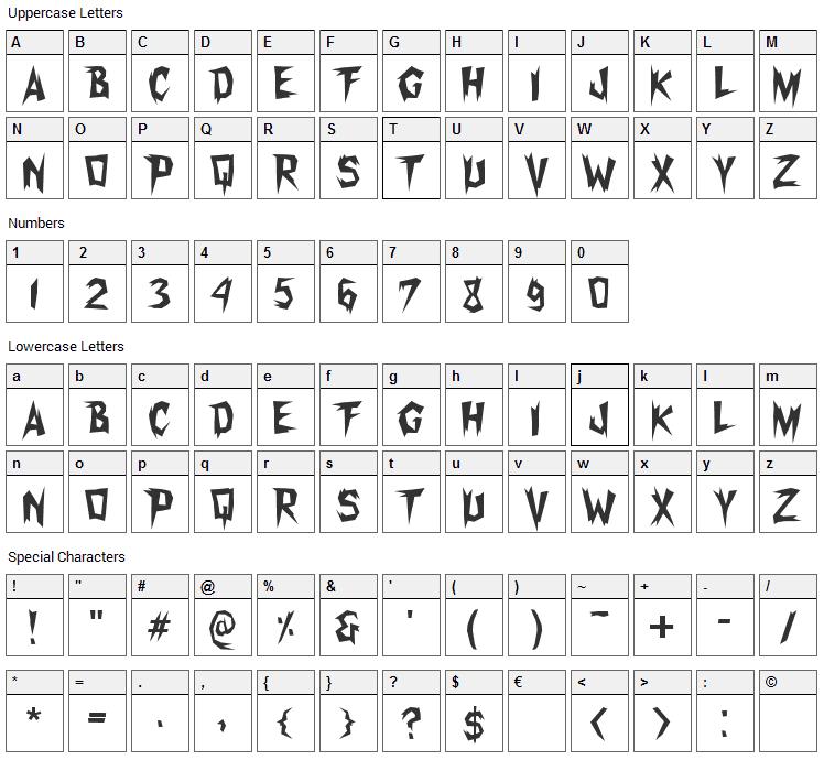 Xerker FW Font Character Map