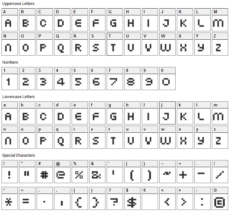 XG Pixo Font Character Map