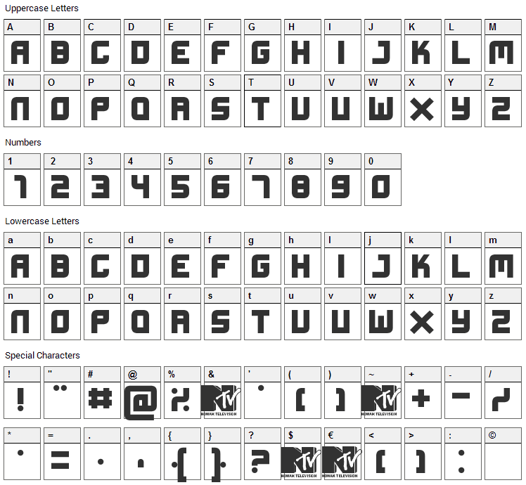 Xifiction Font Character Map
