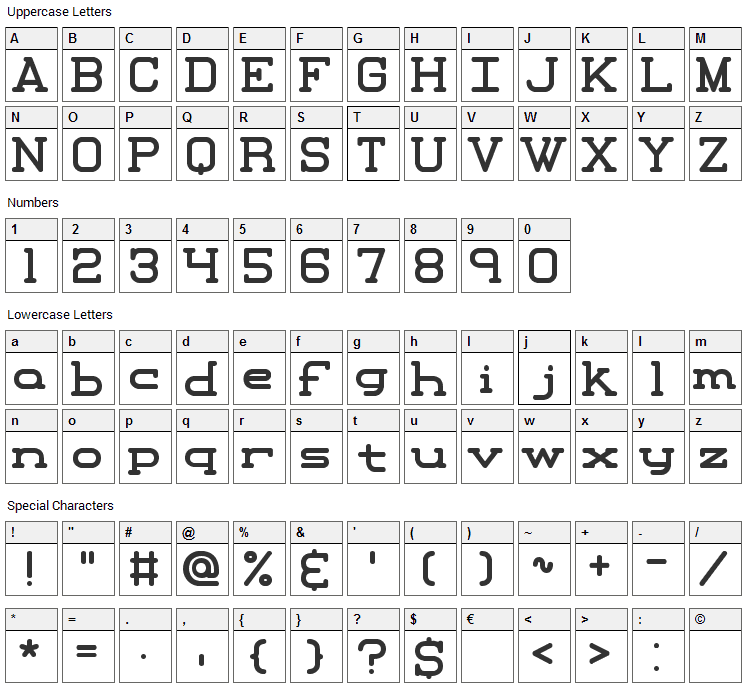 Xipital Font Character Map
