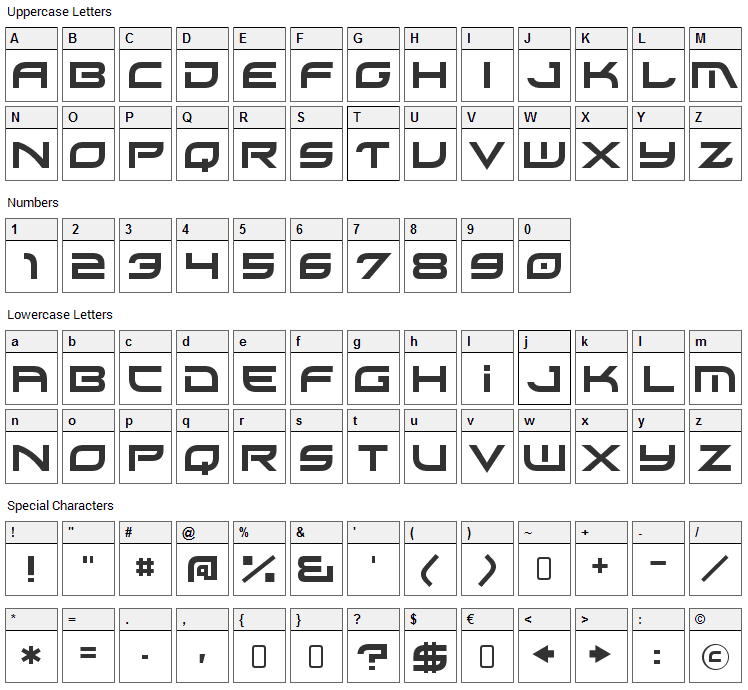 Xirod Font Character Map