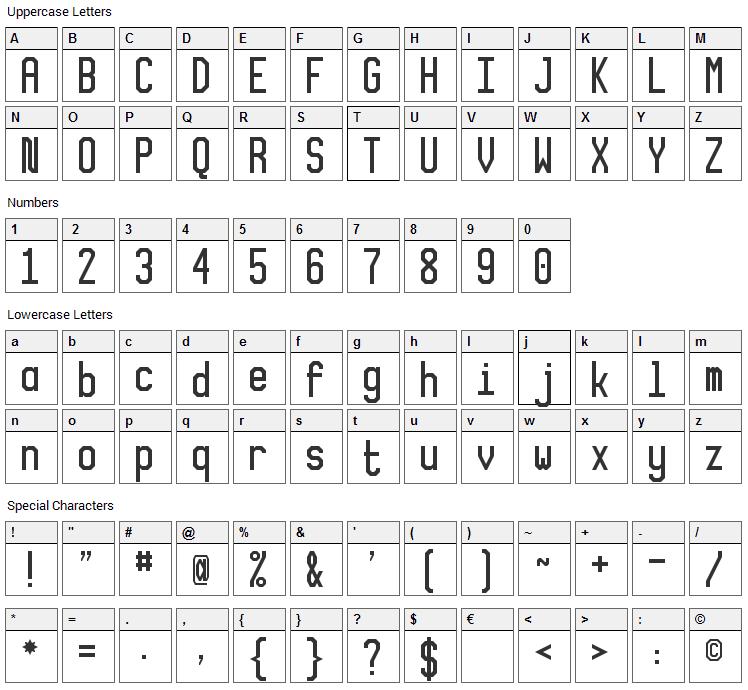 XLMonoAlt Font Character Map