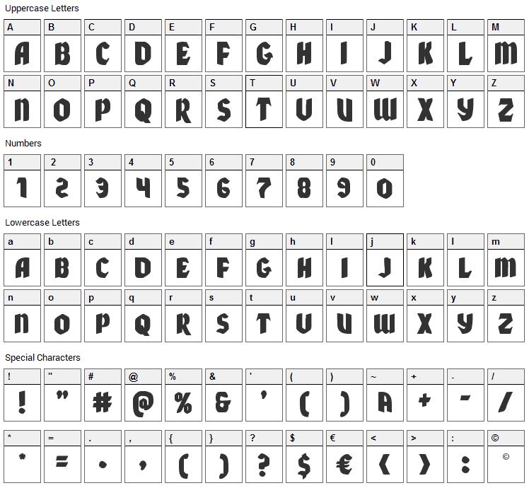 Xmas Xpress Font Character Map