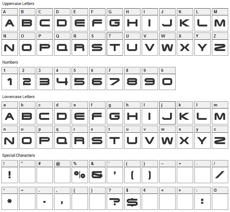 Xoireqe Font Character Map