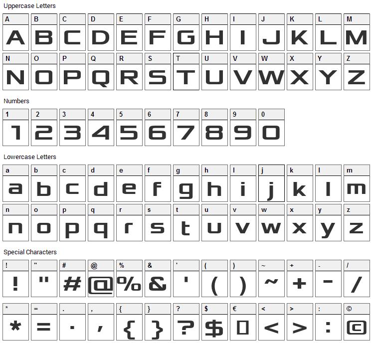 Xolonium Font Character Map