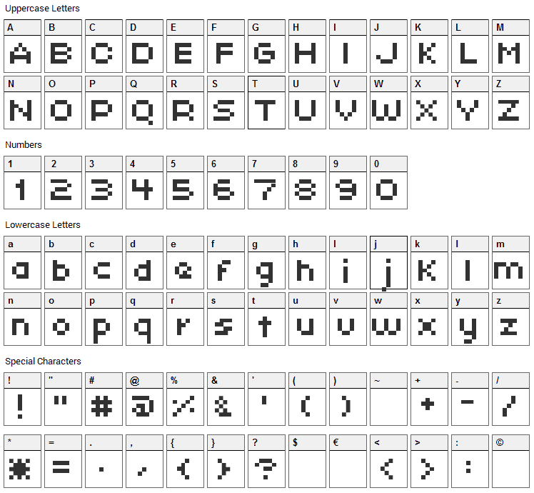 Xpaider Pixel Explosion 01 Font Character Map